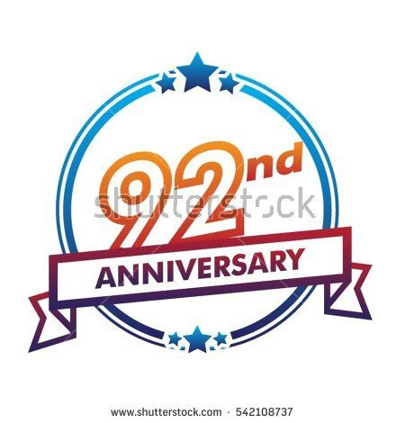 blue circle and star with purple ribbon 92nd anniversary design vector