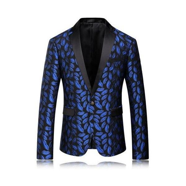 Mens Royal Blue Printed Blazer Pattern Slim Fitted Prom Blazers Men... via Polyvore featuring men's fashion, men's clothing, men's apparel, slim fit mens clothing, mens clothing and aztec print mens clothing