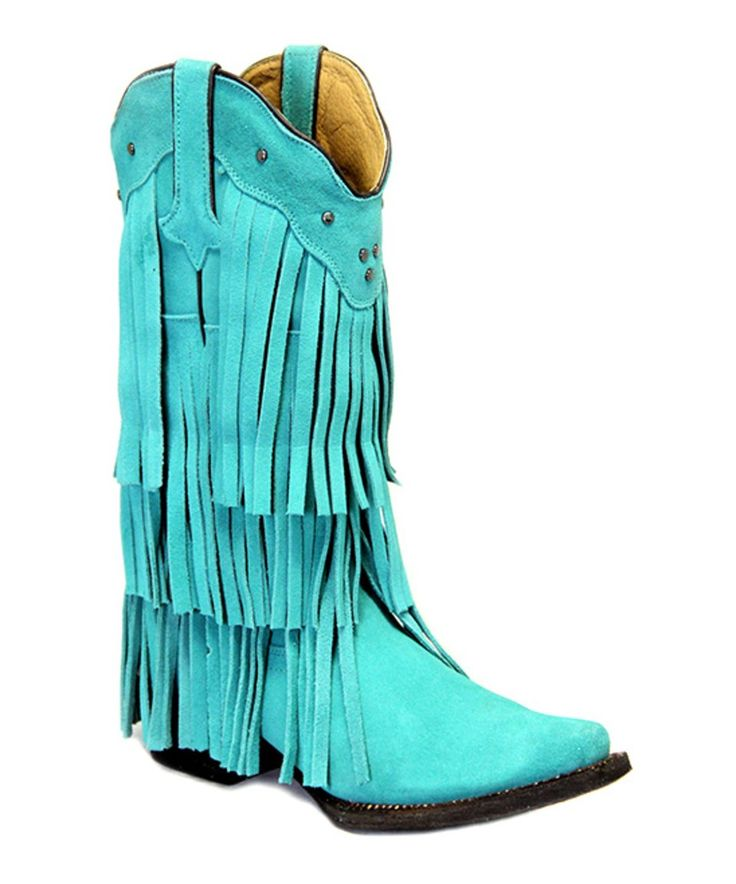 Take a look at this Turquoise Triple-Layer Fringe Leather Cowboy Boot - Women today!