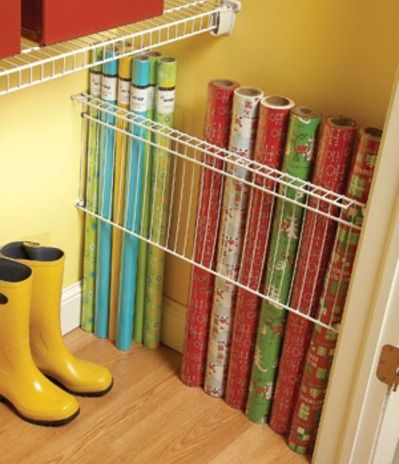 This creative way to store your wrapping paper and efficiently use every square inch of your closets.