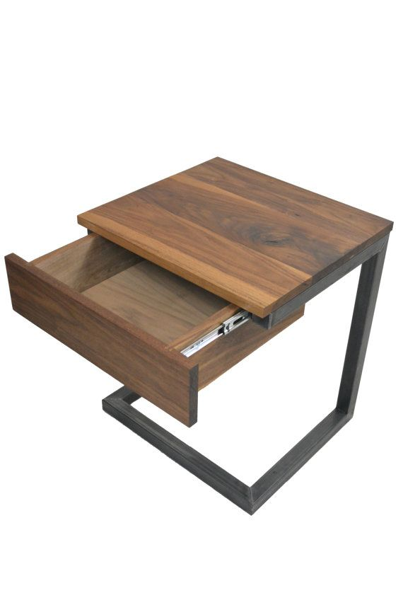C Table with Drawer Side Table Night by BlackIronMetalWorks