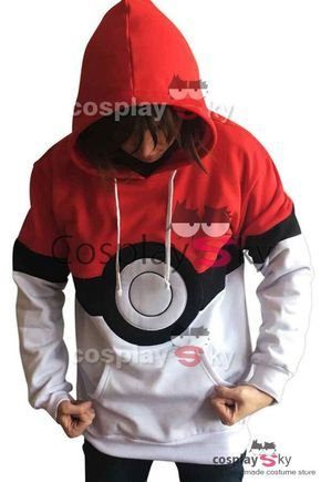 Pokémon Poké Ball Ash Satoshi Chaqueta con Capucha Cosplay Disfraz_1