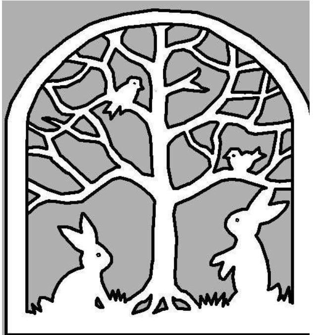 link to a pdf of a stain glass window to cut out for spring