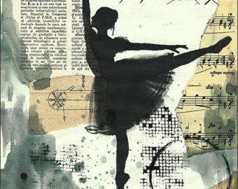 Kunstdruck Leinwand Weihnachtsgeschenk Plakat Mischtechnik Skizze Collage Gemälde Illustration Ballett Unikat Autogramm Emanuel M. Ologeanu