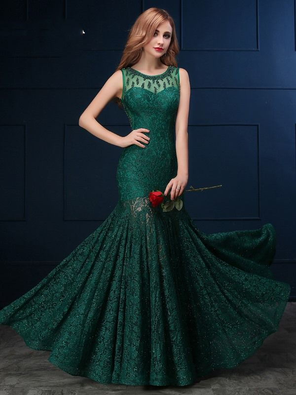 Delicate Scoop Neck Beaded Lace Mermaid Evening Dress @ericdres