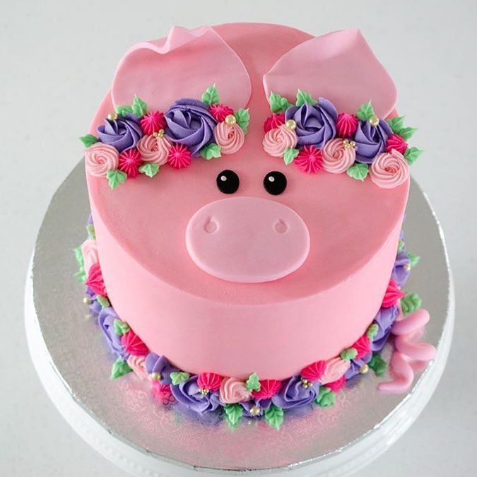Incredible Pig Floral Cake Pig Cake Pig Party Birthday Cake Personalised Birthday Cards Bromeletsinfo