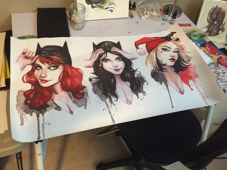 Batman Gotham Girls Banner Catwoman Harley Quinn Batgirl by carlationsart on Etsy https://www.etsy.com/listing/224314671/batman-gotham-girls-banner-catwoman