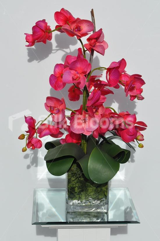 Modern Artificial Fresh Touch Pink Phalaenopsis Orchid Floral Table Arrangement