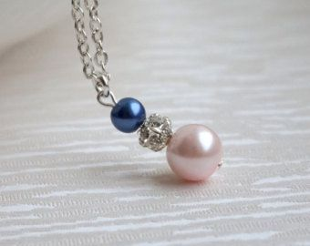 Blush necklace, Pearl necklace, Navy and blush pearl necklace, Bridesmaid gift, Wedding jewelry, Blush Wedding, Blush pink pearl, Royal Blue
