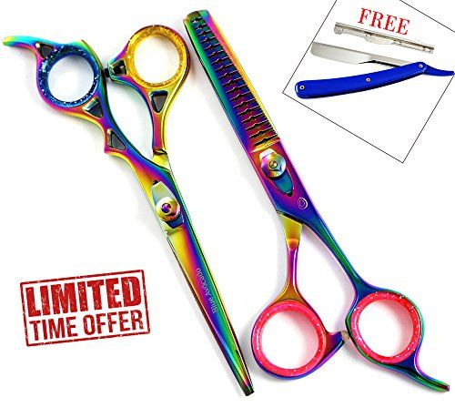 Professional Razor Edge Series  Barber Hair Cutting ScissorsShears  65 Overall Length with Fine Adjustment Tension Screw  Japanese Stainless Steel  FREE CUT THROAT RAZOR >>> Learn more by visiting the image link.