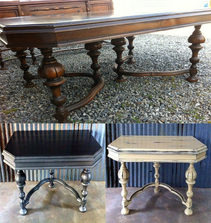 Antique Dining Table Repurposed. Makes Great Vanity Or Desk! Painted By A  To Z