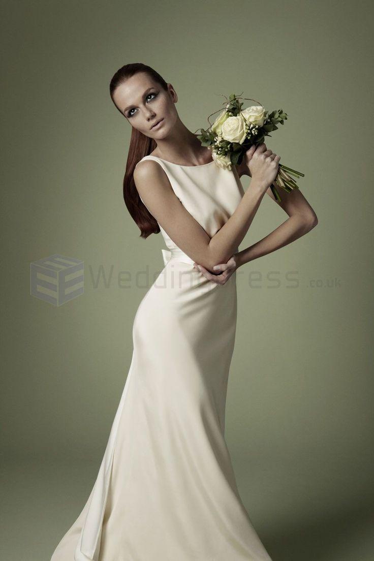 1960s Style Wedding Dresses | 1960s Style Silk Soft Ivory Empire Waistline Bodice Timeless Boat Neck ...