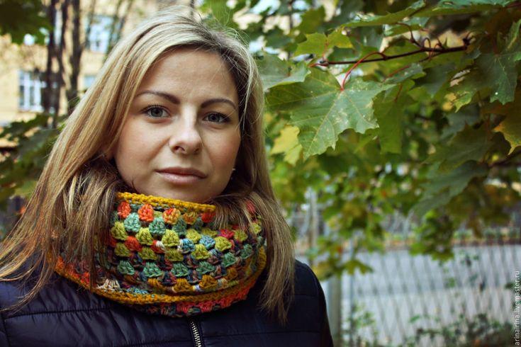"""Купить Шарф, снуд вязаный """"Алиса - Осень"""" - в полоску, шарф, шарф-снуд вязаный, снуд"""