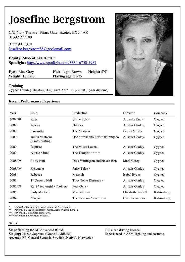 musical audition resume template acting format example theatre sample