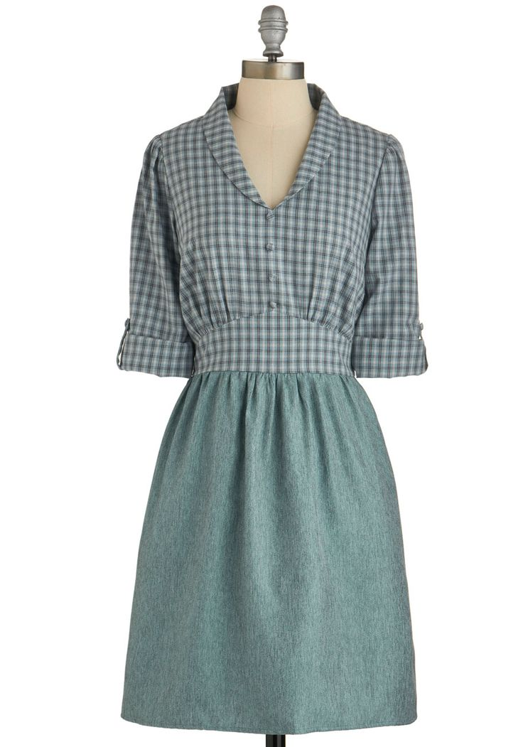 Everyday Intellectual Dress. Wear this pretty plaid twofer dress any day you seek super-smart style! #green #modcloth