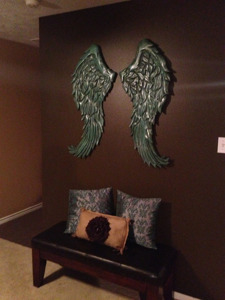 Large rustic angel wings distressed wood wall decor for Angel wings wall decoration