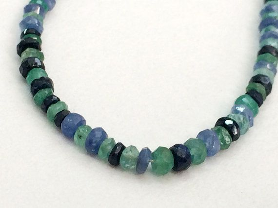 Emerald And Sapphire Faceted Rondelle Beads by gemsforjewels