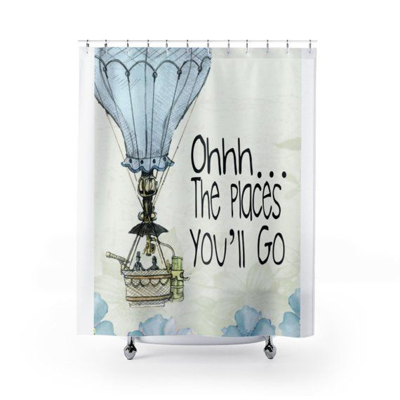 Oh The Places You Ll Go Shower Curtain Baby Bathroom Etsy Kids Bathroom Shower Curtain Personalized Shower Curtain Custom Shower Curtains