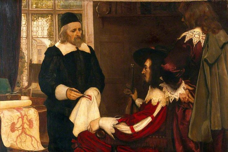 William Harvey Demonstrating His Theory of Circulation of Blood before Charles I  by Ernest Board