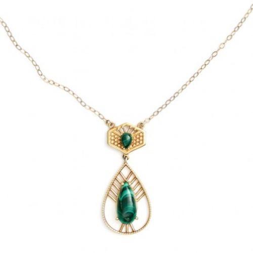 Malachite Necklace Gold