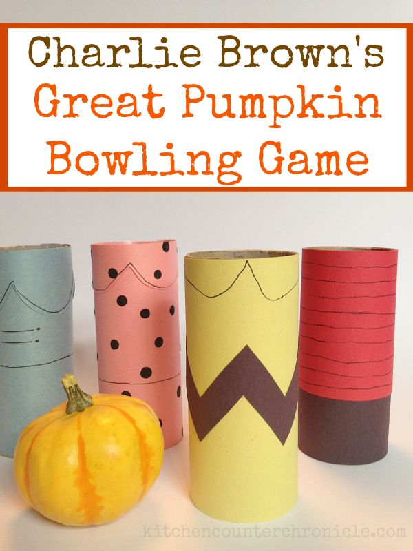 """Great pumpkin bowling game - a fun game that combines the book """"It's a Great Pumpkin, Charlie Brown"""" with a playful kids activity. So, you want to make your own Charlie Brown bowling game? Come on over and check out how we turned the cartoon characters into bowling pins! Don't forget the little bowling ball. Halloween activity for kids."""