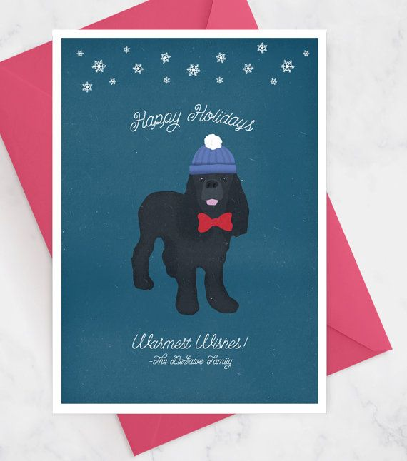 Dog Holiday Card With Custom Pet Portrait Pet Holiday Card Dog
