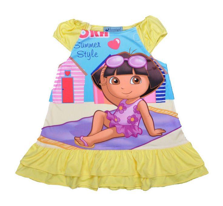 Toddler dress for girls Dora dresses Baby pajamas Summer Nightgowns sleepwear