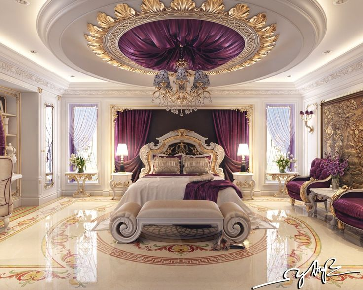 This bedroom tends toward what most people might envision when they dream of luxury. Rick purple tapestries on every surface, a perfectly polished marble floor, and lots and lots of gold leaf.