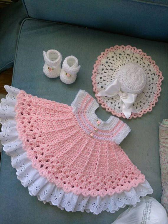 Hermosa rosa y blanco crochet set de Pascua.