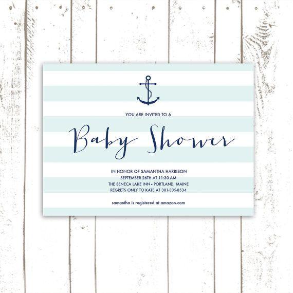 Anchor Baby Shower Invitation, Boy Baby Shower, Printable Striped Baby Shower Invitations, Light Blue and Navy on Etsy, $64.00