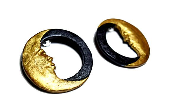 Christmas Gift, New Moon Earrings, Stud Earrings, Gold Moon Earrings, Crescent Moon, Moon face earrings, Gold Hoop, Moon Earrings, Statement #moon #newmoon #moonlover #largehoops #largeearrings #moonearrings #uniquejewelry #goldmoon #christmasgift #giftforher