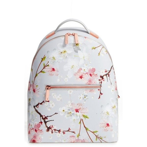 Women's Ted Baker London Flower Print Leather Backpack ($269) ❤ liked on Polyvore featuring bags, backpacks, light grey, ted baker, leather bags, leather daypack, floral backpack and leather backpack