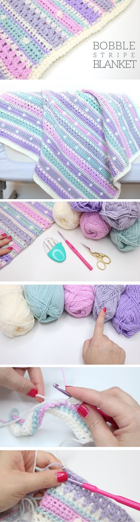 Bobble Stripe Blanket Tutorial.