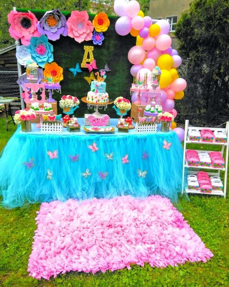 Butterflies Garden Birthday Party Ideas Photo 1 Of 12 Garden Party Birthday Girls Birthday Party Themes 1st Birthday Party For Girls
