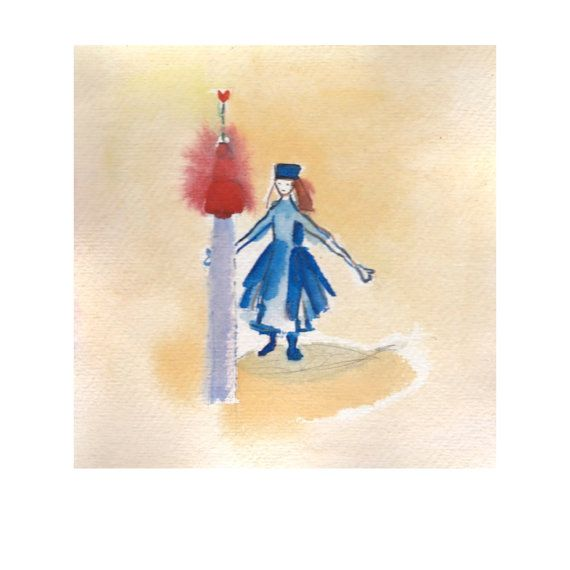 Watercolour woman and tower fine art print red by atelierartbook