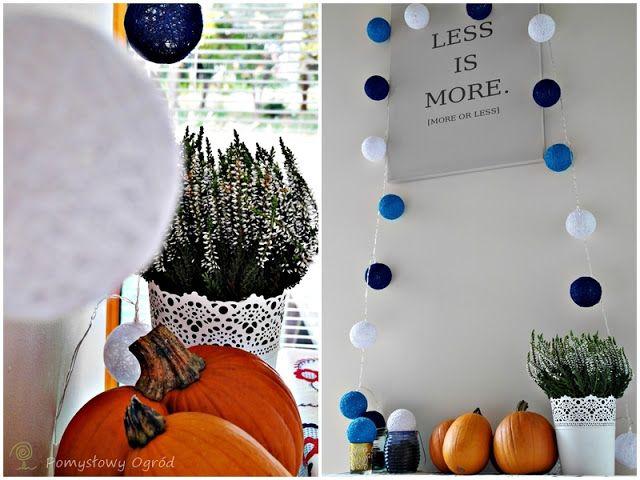 heather, pumpkins, cotton balls; Pomysłowy ogród: Jesienne, ciepłe akcenty