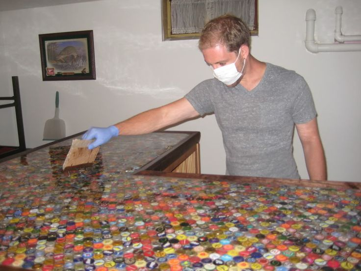 bottlecap countertop YES PLEASE FOR MY AT HOME BAR (i don't have) this Is for Andy who's been saving caps for forever now :-/