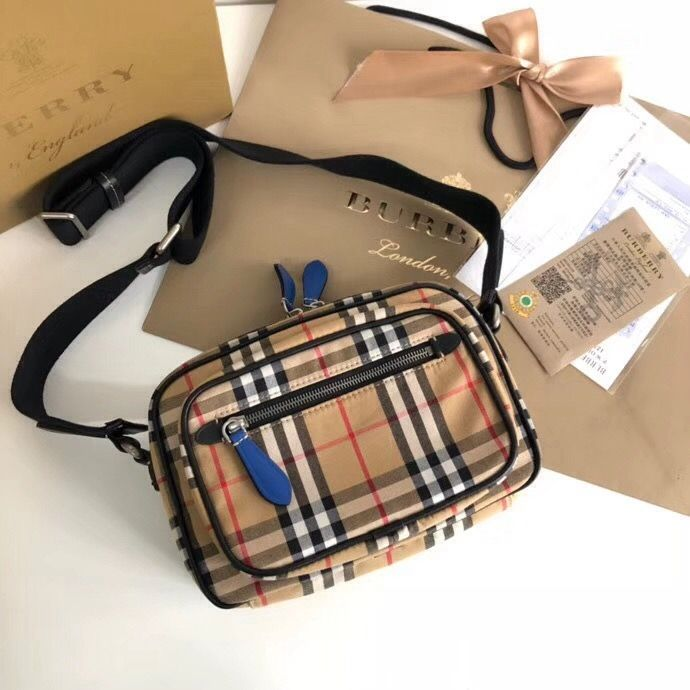 Burberry Vintage Check Canvas Camera Cross Body Bag Blue 2018 ... 4bcd525397