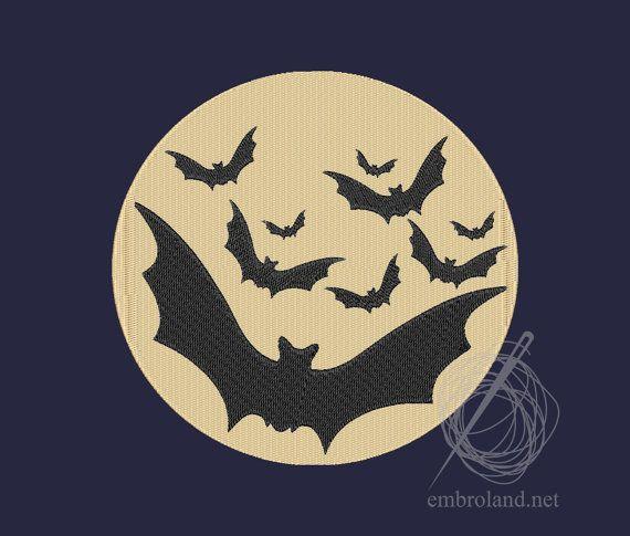 Bats Machine Embroidery Design Instant Download Three