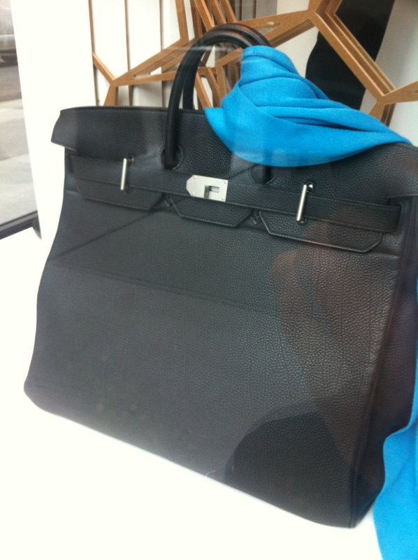 55e7d85f9bfb Hermes lightweight 50 cm Haut a Courroies bag in black Swift leather and  aluminum hardware.