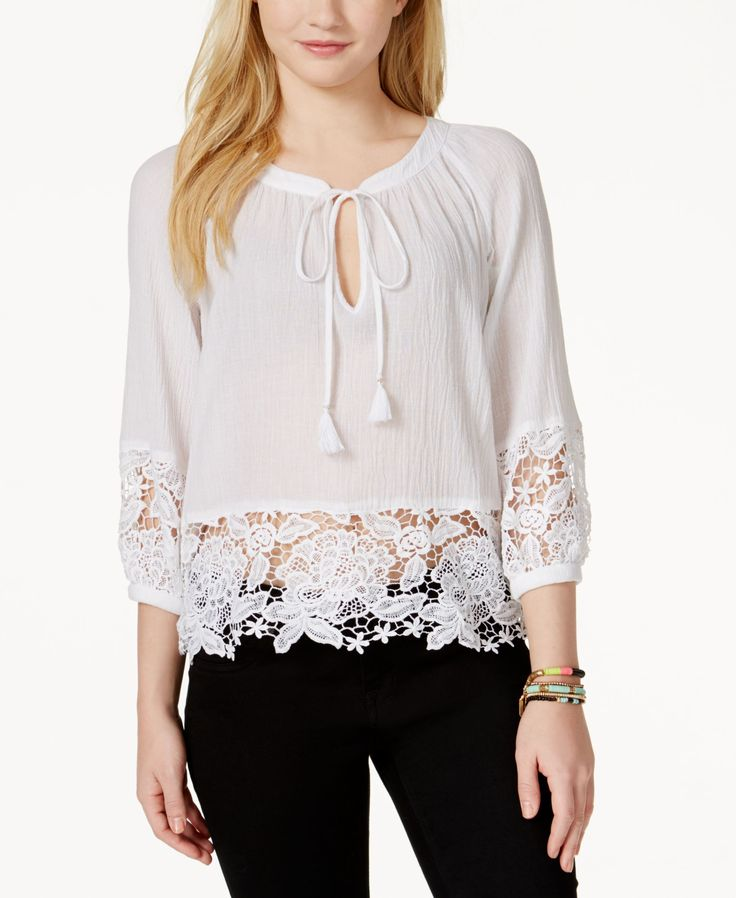 Xoxo Juniors' Lace-Trim Peasant Blouse