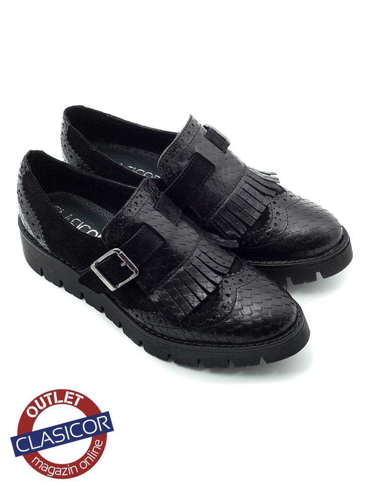 Pantofi casual din piele naturala, dama – 019-1 negru sarpe velur | Pantofi piele online / outlet incaltaminte piele | Clasicor