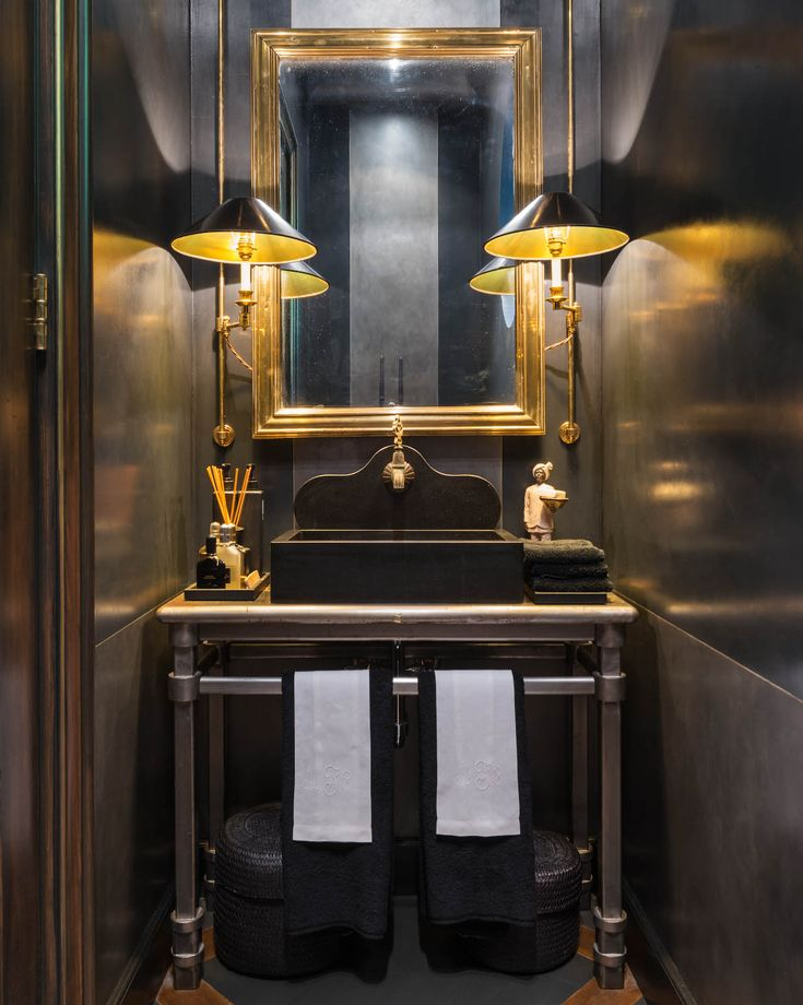 17 best images about bath powder room on pinterest for Black and gold interior design