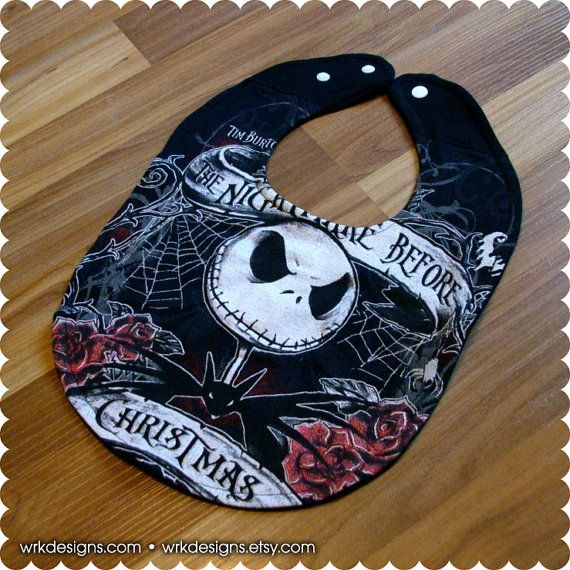 Nightmare Before Christmas Baby Bib Recycled T-Shirt by wrkdesigns