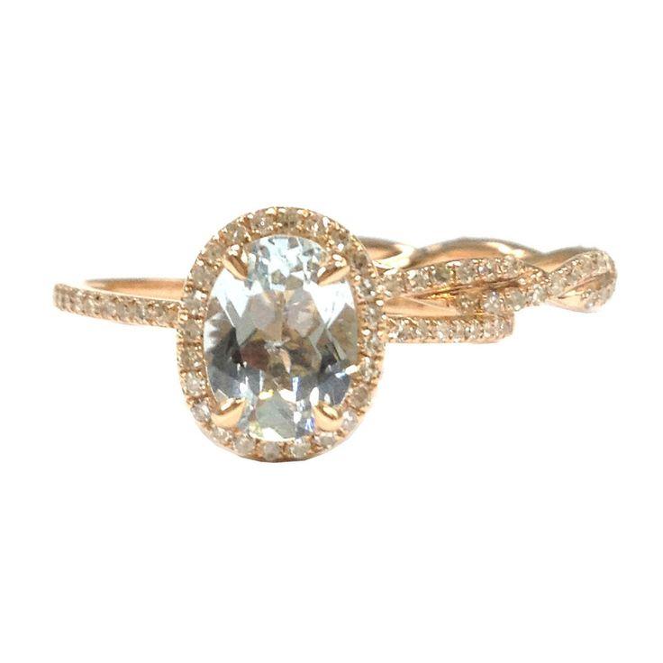 Oval Aquamarine Engagement Ring Sets Pave Diamond Wedding 14K Rose Gold 6x8mm Twist Band