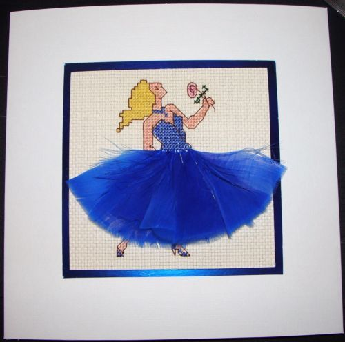 Completed-Cross-Stitch-Extra-Large-Card-Beautiful-Dancer-In-Blue