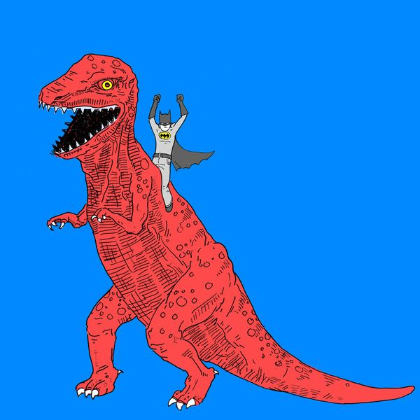 Good transition from the dinosaur closet to the Batcave playroom -- Dinosaur