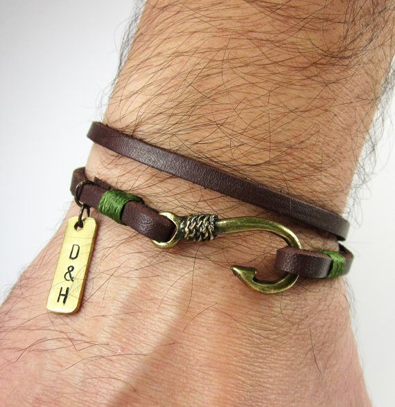 Men's Personalized Bracelet,Men's Leather Bracelet, Brass and fish hook bracelet,Personalized Men Bracelet,Unisex bracelet,Bronze fish hook