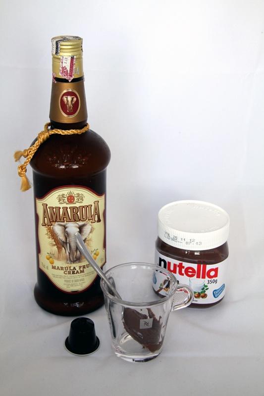 Amarula & Cuppucino: 80 cl Ristretto Coffee,  20 cl Amarula,  Two Tea-Spoon Nutella...