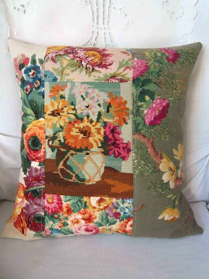 patchwork cottage cushion